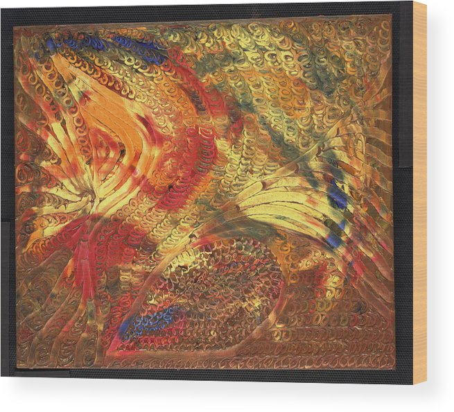 Abstract Wood Print featuring the painting Le Panache by Dominique Boutaud