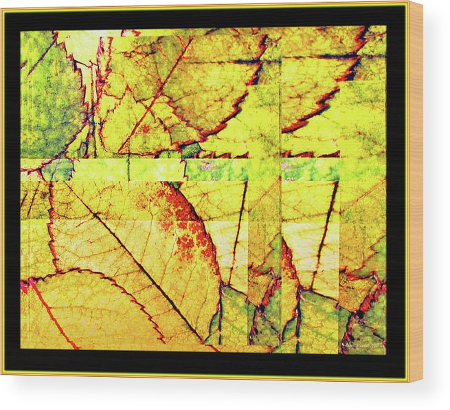 Autumn Wood Print featuring the digital art Leaf Abstract by Joan Minchak