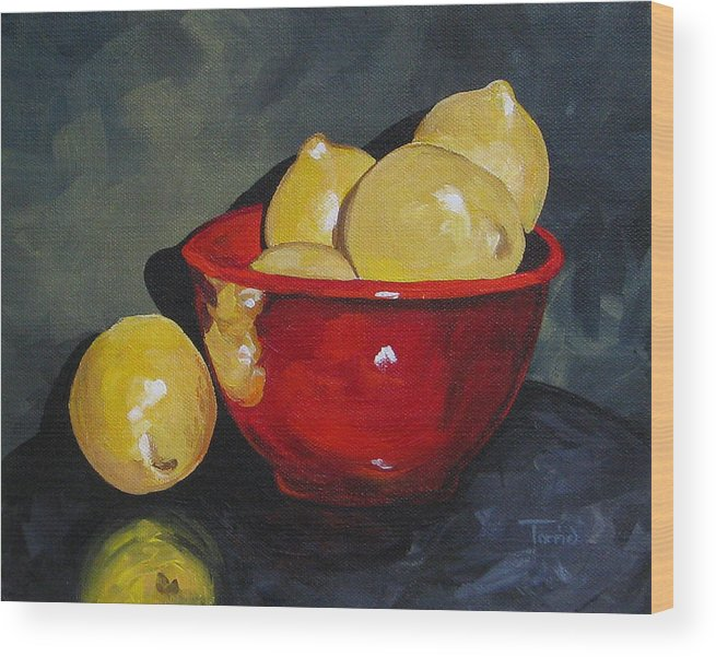 Red Bowl Wood Print featuring the painting Lemons And Red Bowl IIi by Torrie Smiley