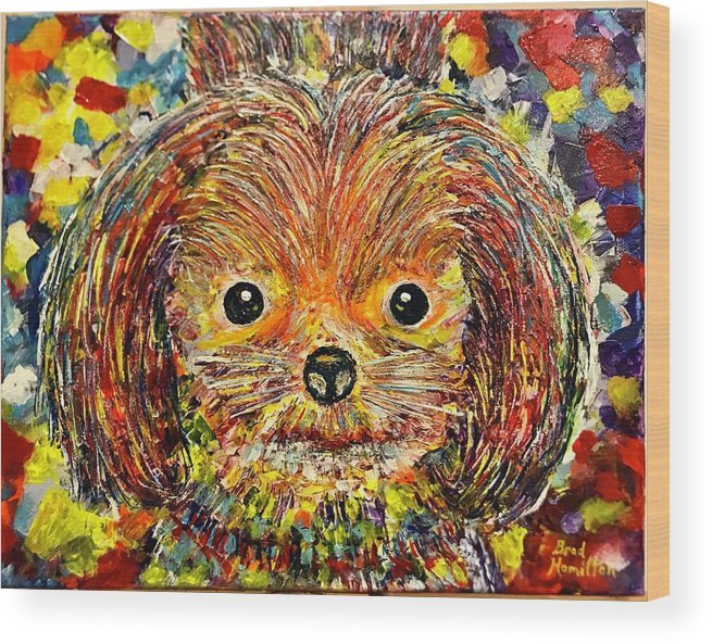 Dog Wood Print featuring the painting Leo Magnifico by Brad Hamilton