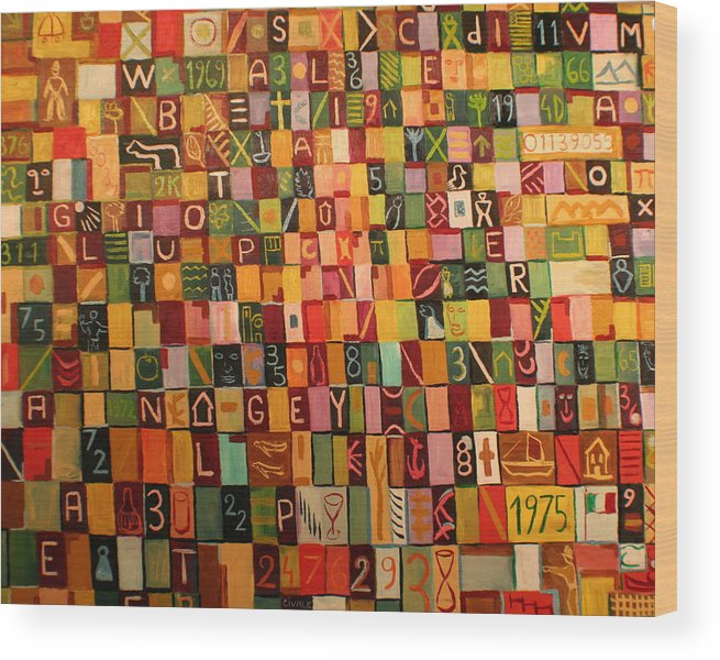 Wood Print featuring the painting Letters And Numbers by Biagio Civale