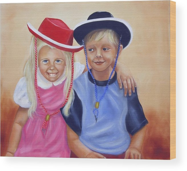 Child Wood Print featuring the painting Lil Pardners by Joni McPherson