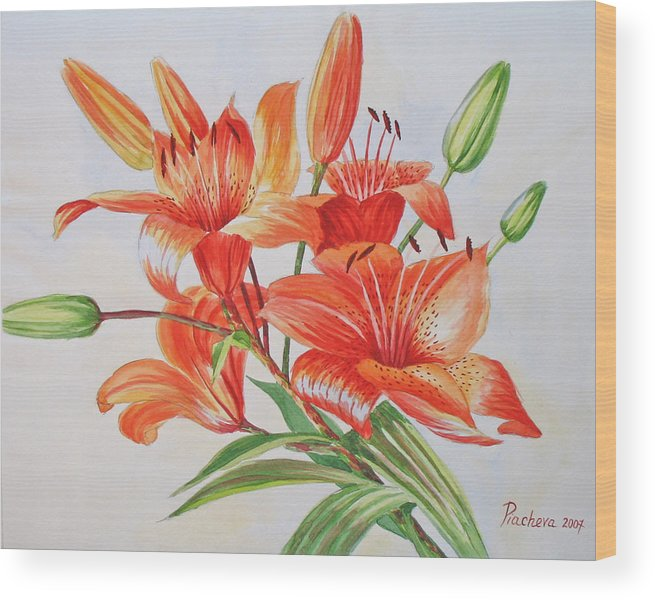Floral Wood Print featuring the painting Lilies.2007 by Natalia Piacheva