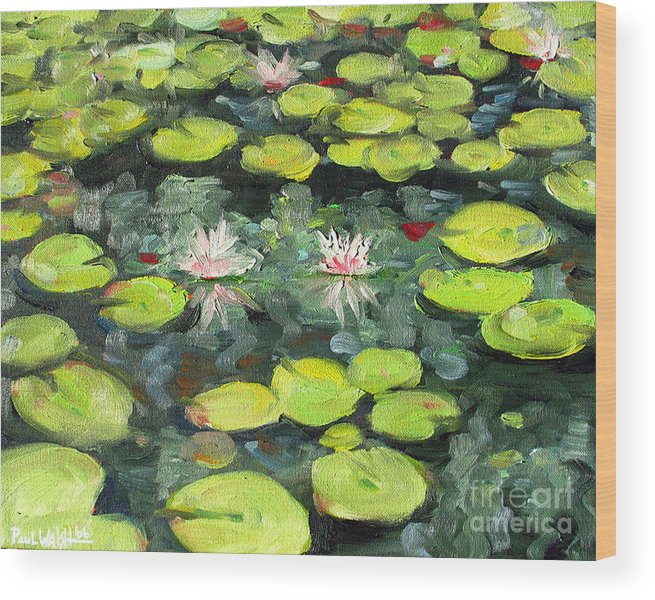 Pond Wood Print featuring the painting Lily Pond by Paul Walsh