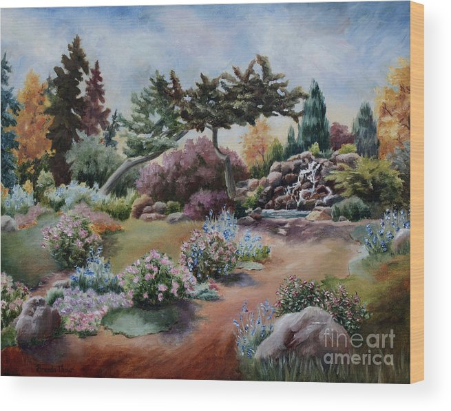 Garden Wood Print featuring the painting Little Eden by Brenda Thour