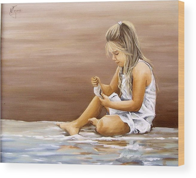 Children Girl Sea Shell Seascape Water Portrait Figurative Wood Print featuring the painting Little Girl With Sea Shell by Natalia Tejera
