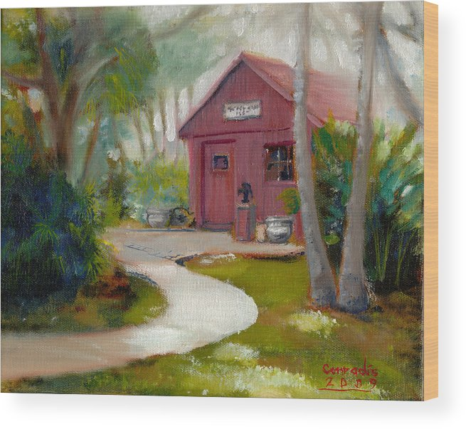 Education Wood Print featuring the painting Little Red School House by Gil Conradis