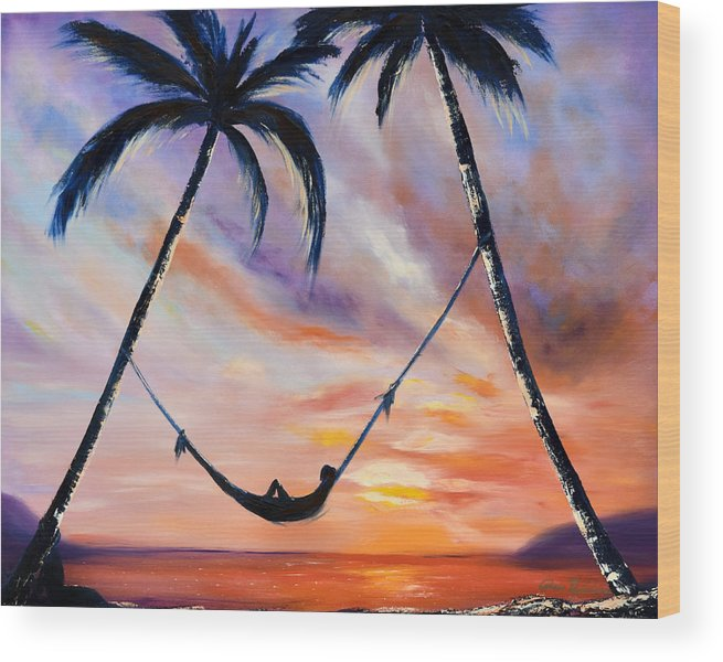 Sunset Wood Print featuring the painting Living The Dream by Gina De Gorna