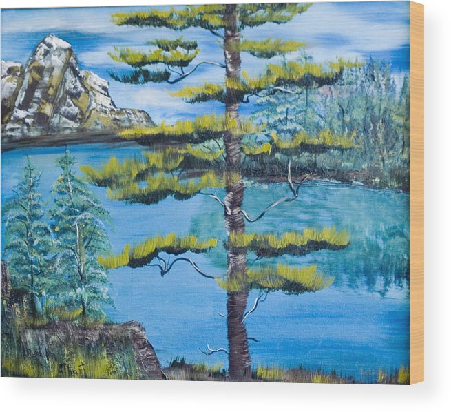 Landscape Wood Print featuring the painting Lone Pine by Mikki Alhart