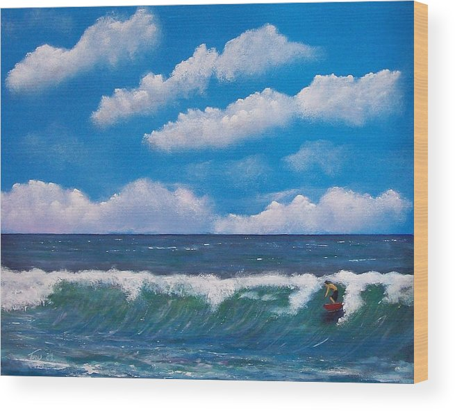 Seascape Wood Print featuring the painting Lone Surfer by Tony Rodriguez
