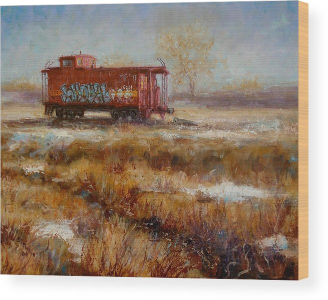 Realism Wood Print featuring the painting Lonely Caboose by Donelli DiMaria