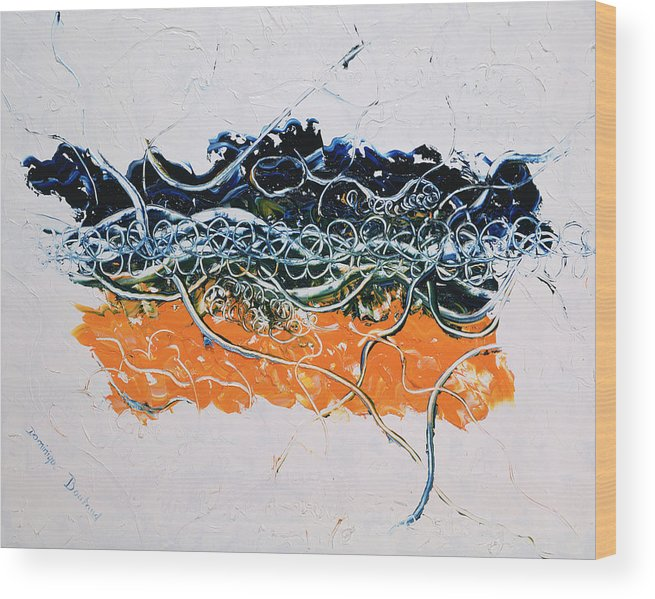 Abstract Wood Print featuring the painting Love by Dominique Boutaud