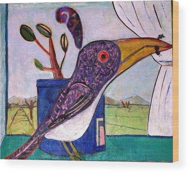 Bird Wood Print featuring the mixed media Lunch by Dave Kwinter