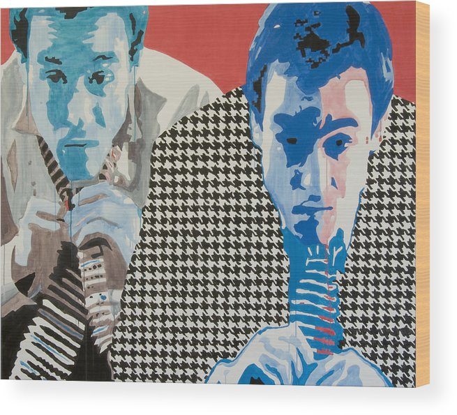Portrait Wood Print featuring the painting Man In A Houndstooth Suit by Pete Nawara
