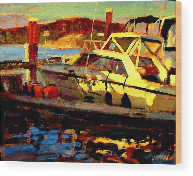 Boat Paintings Wood Print featuring the painting Marina Sunset by Brian Simons