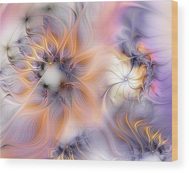 Abstract Wood Print featuring the digital art Marvel by Casey Kotas