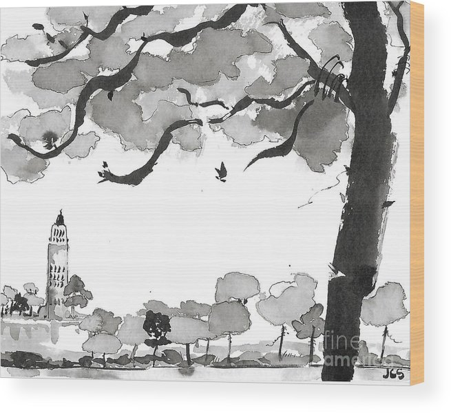 Art Wood Print featuring the painting Memories Spirited Tree And Architecture by JC Strong