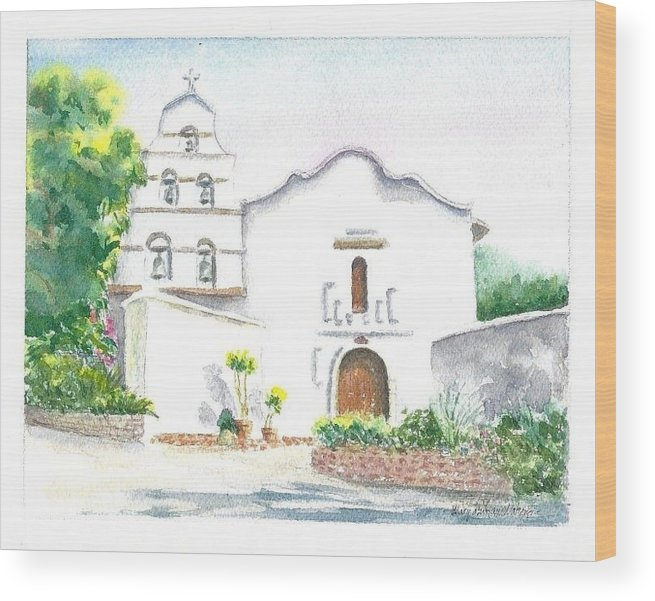Missions Wood Print featuring the painting Mission San Diego by Mary Dunham Walters