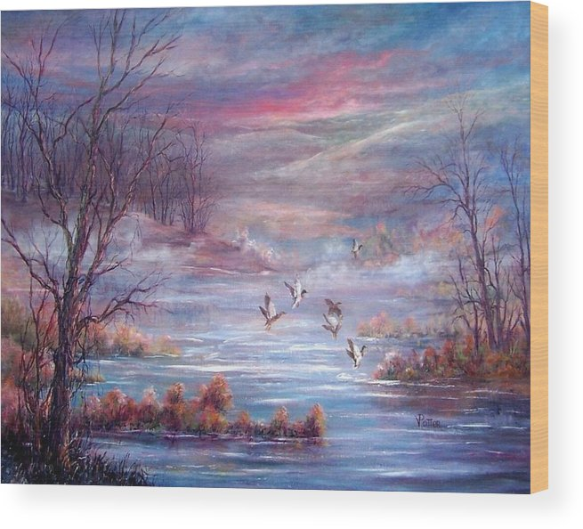 Morning Mist Wood Print featuring the painting Misty Morning Flight by Virginia Potter