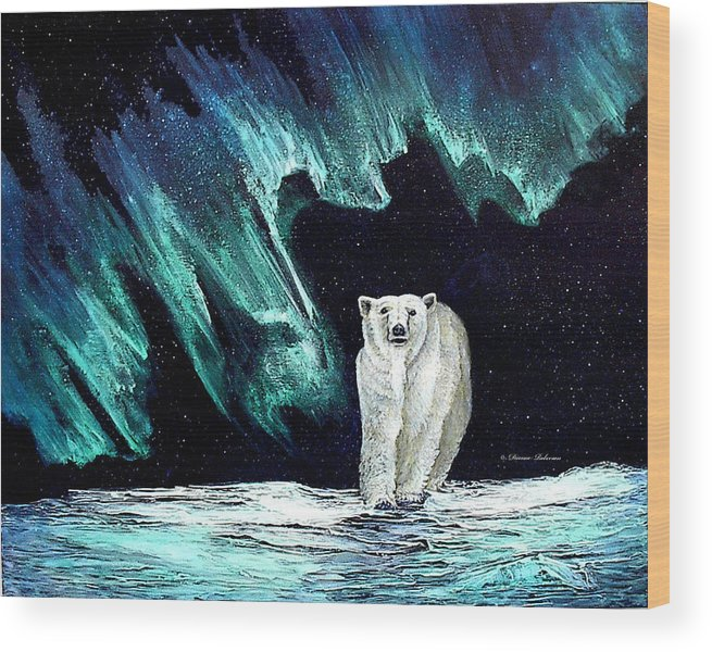 Bear Wood Print featuring the painting Monarch Of His Arctic Domain by Dianne Roberson