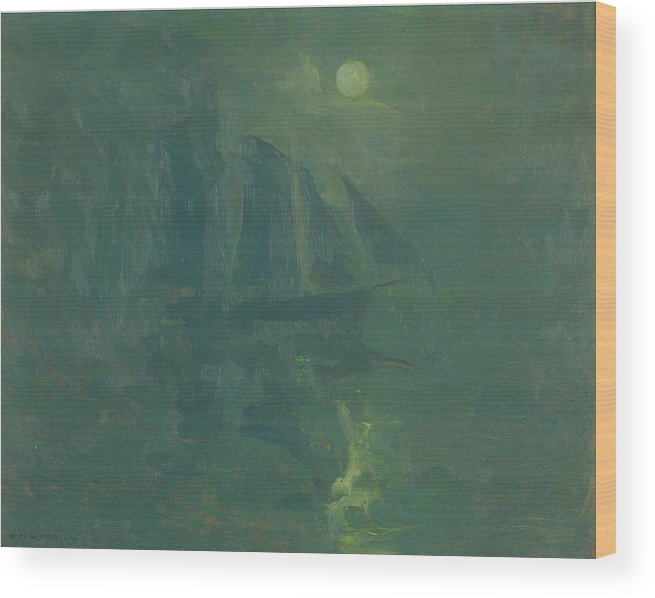 Armin Hansen Wood Print featuring the painting Moonlight by Armin Hansen
