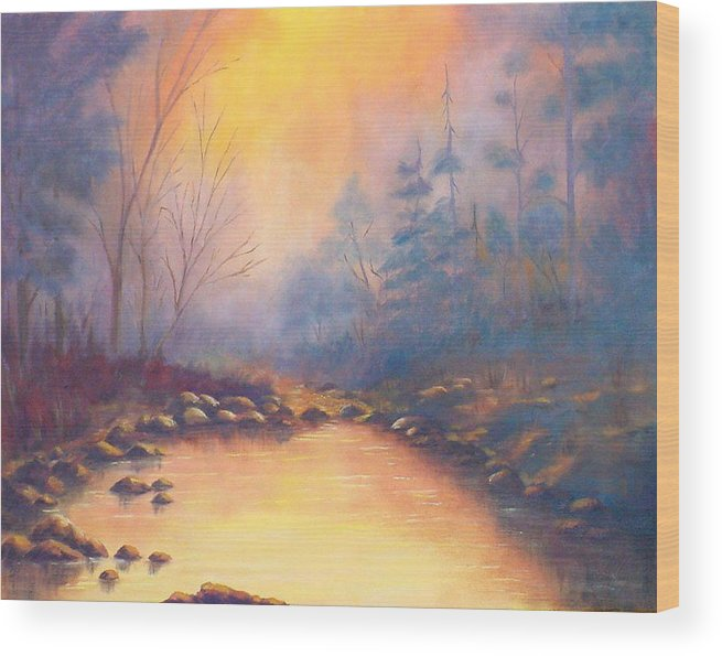 Sunrise Wood Print featuring the painting Morning Mist by Merle Blair