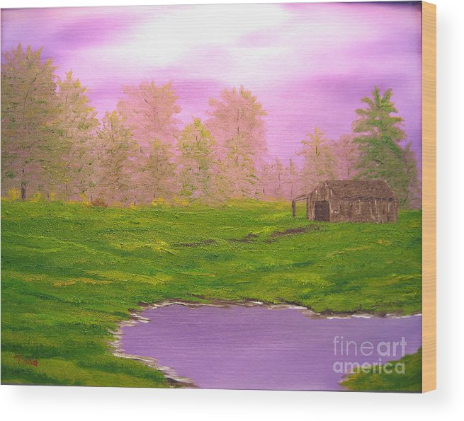 Lanscape Wood Print featuring the painting Morning Storm by Todd Androy