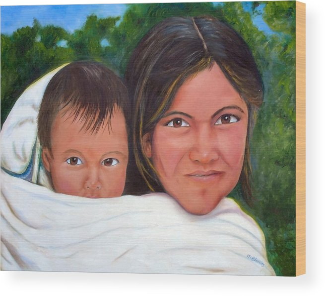 Portrait Wood Print featuring the painting Mother And Child by Merle Blair