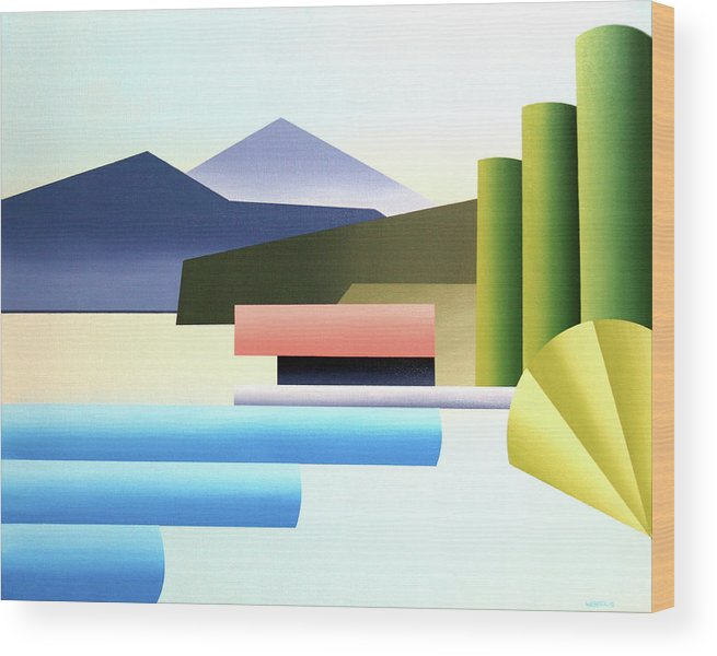 A Painting Day Wood Print featuring the painting Mountain Lake Dock Abstract Acrylic Painting by Mark Webster