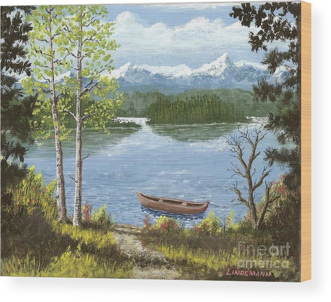 Mountain Wood Print featuring the painting Mountain Lake by Don Lindemann