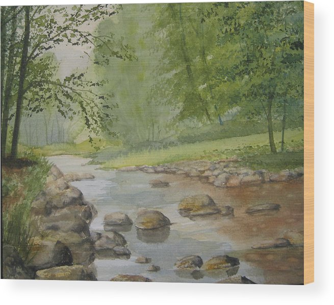 Landscape Wood Print featuring the painting Mountain Stream by Shirley Braithwaite Hunt
