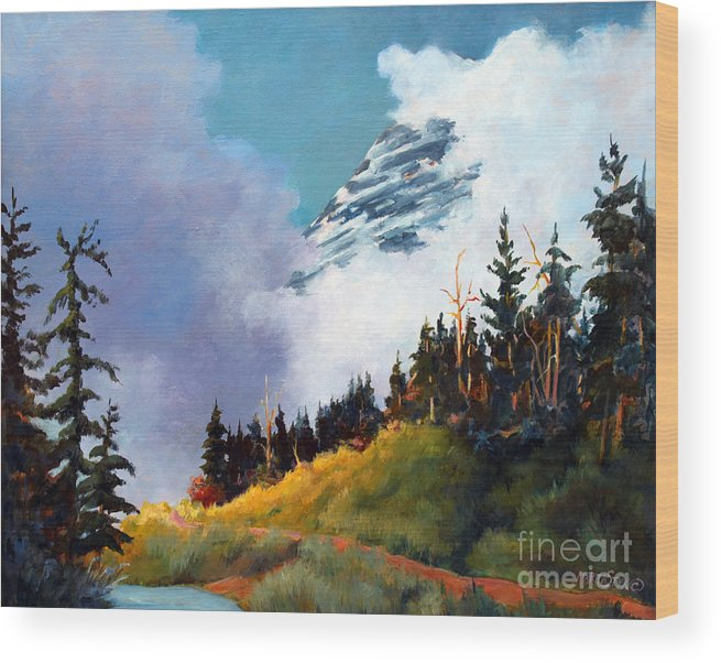 Landscape Wood Print featuring the painting Mt. Rainier In Clouds by Marta Styk
