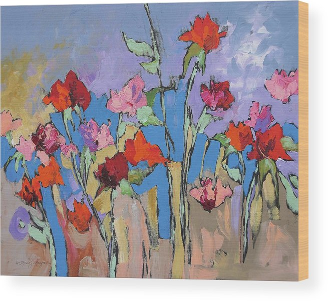 Garden Wood Print featuring the painting Mystical by Linda Monfort