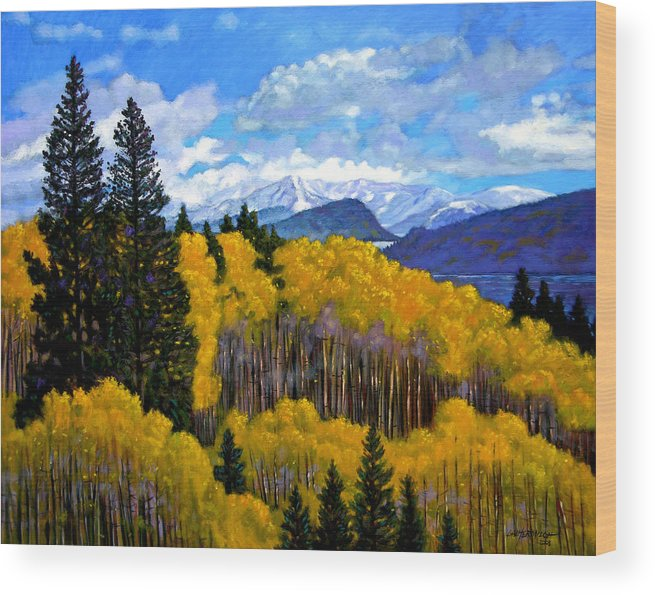 Fall Wood Print featuring the painting Natures Patterns - Rocky Mountains by John Lautermilch