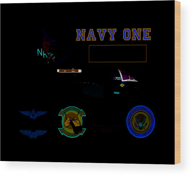 Aviation Wood Print featuring the digital art Navy One by Mike Ray