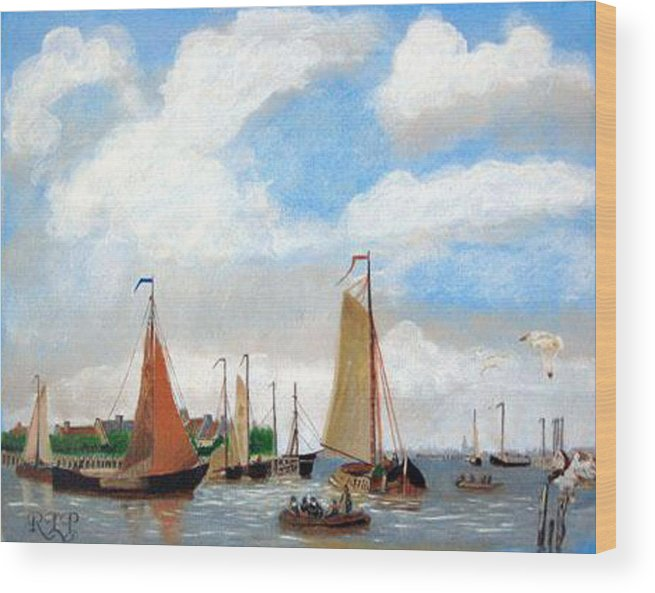 Netherlands Wood Print featuring the painting Netherland's Harbour by Richard Le Page