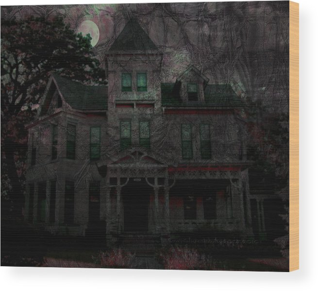 Night Wood Print featuring the digital art Night by Mimulux patricia No