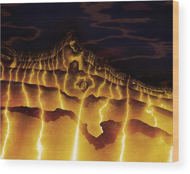 Vic Eberly Wood Print featuring the digital art Night On Bald Mountain by Vic Eberly