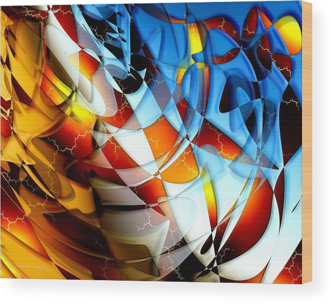 Abstract Wood Print featuring the painting Notions by Dreamlight Creations