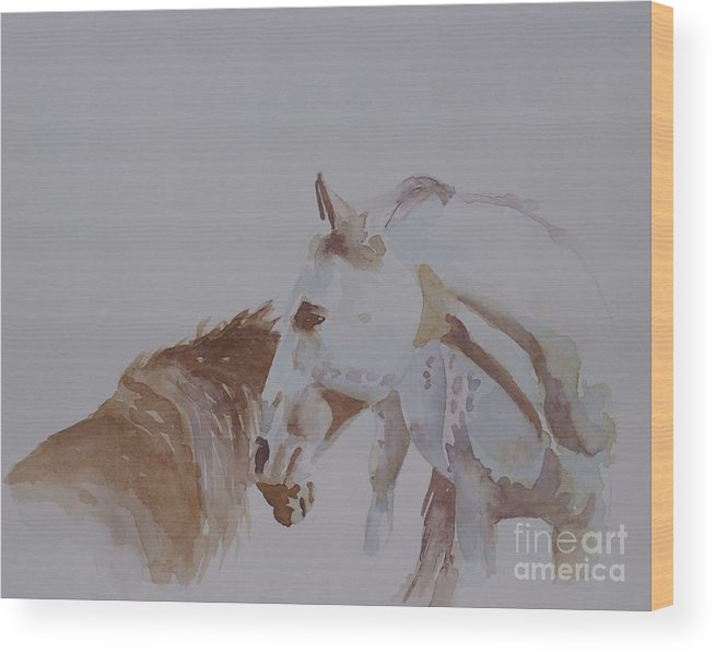 Original Watercolor Wood Print featuring the painting Nuzzle by Gretchen Bjornson