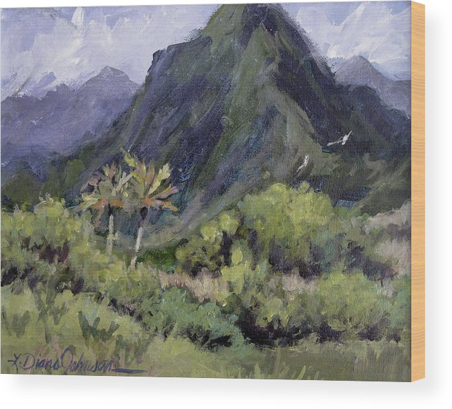 Hawaii Mountain Wood Print featuring the painting Oahu Valley by L Diane Johnson