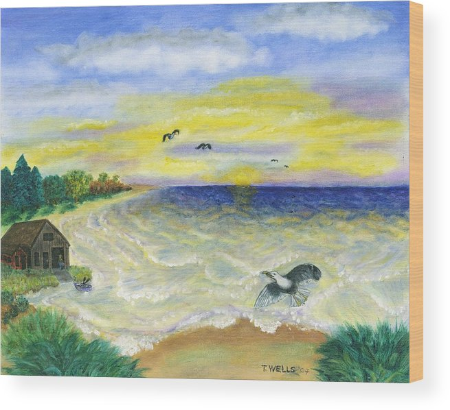 Ocean Wood Print featuring the painting Ocean Delight by Tanna Lee M Wells