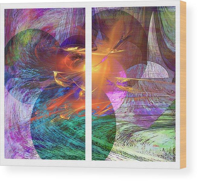 Ocean Fire Wood Print featuring the digital art Ocean Fire by John Beck