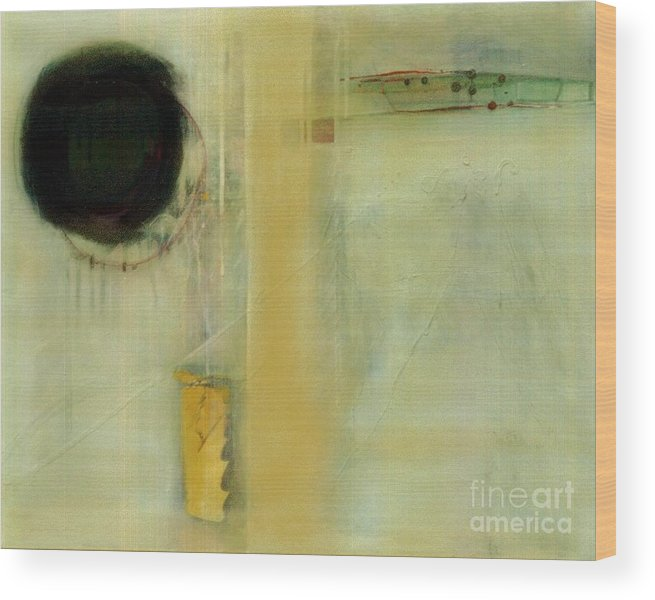 Abstract Wood Print featuring the painting Ochre Wash Jump by Marlene Burns