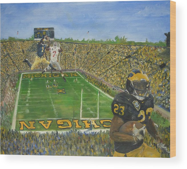 Michigan Wood Print featuring the painting Ohio State Vs. Michigan 100th Game by Travis Day