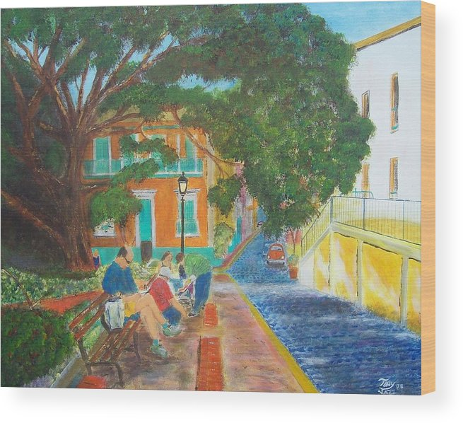 Landscape Wood Print featuring the painting Old San Juan Street Scene by Tony Rodriguez