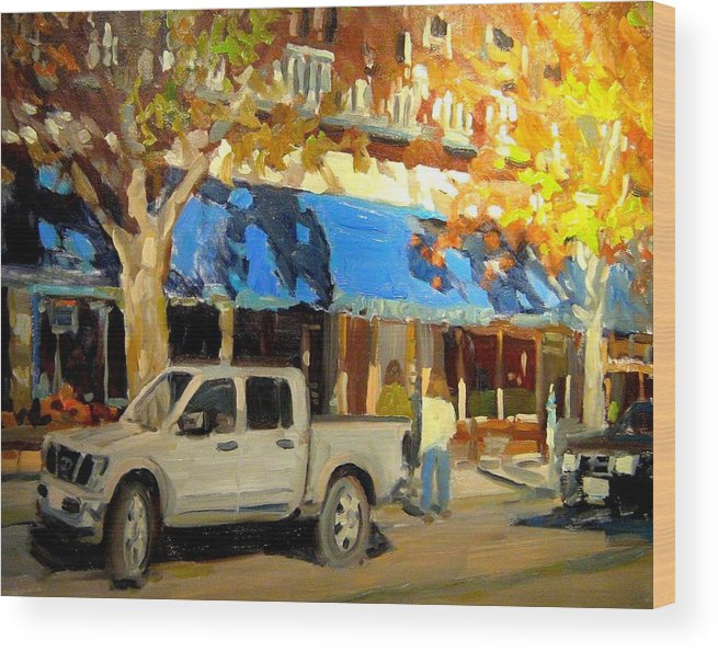 Citscape Paintings Wood Print featuring the painting On Government Street by Brian Simons