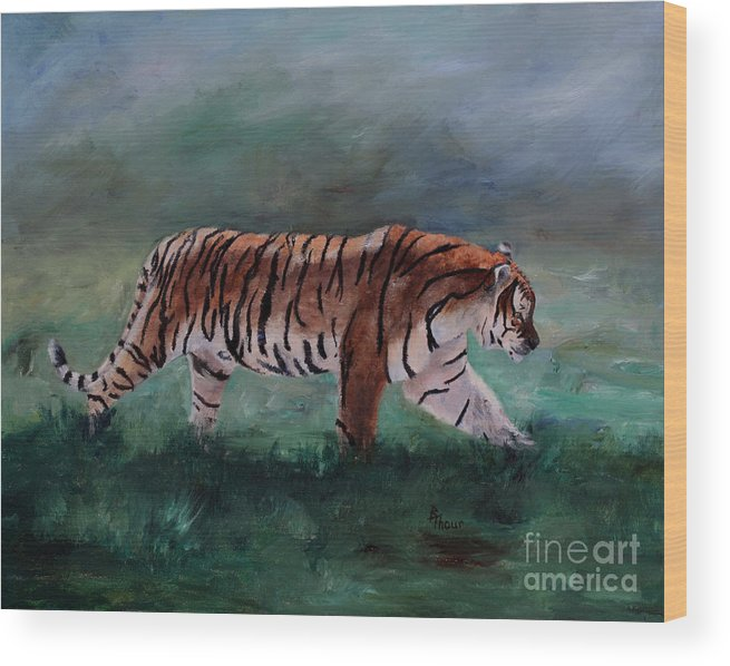 Tiger Wood Print featuring the painting On The Prowl by Brenda Thour