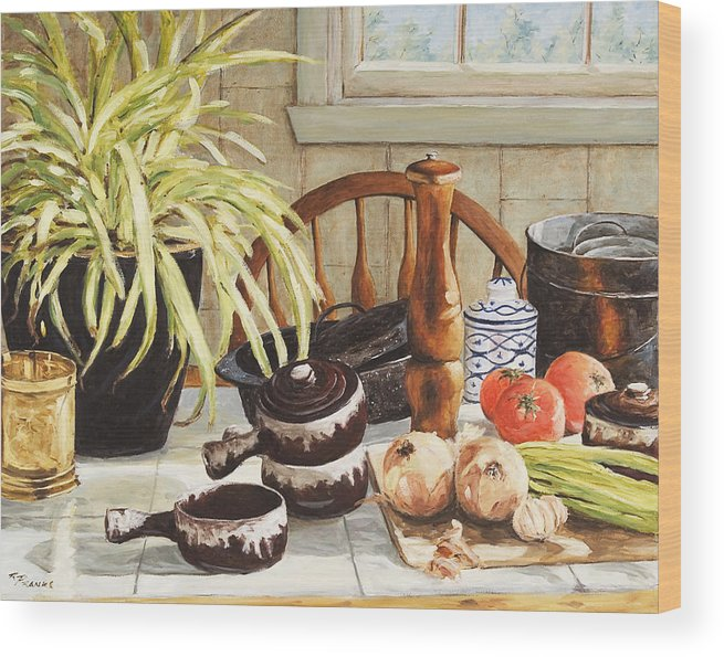 Onion Wood Print featuring the painting Onion Soup Tonight by Richard T Pranke