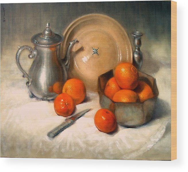 Realism Wood Print featuring the painting Orange And Gray by Donelli DiMaria